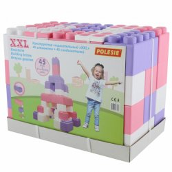 Wader Klocki XXL 45 Elementów + 45 łączników Różowe