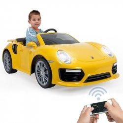 INJUSA Samochód Na Akumulator Porsche 911 Turbo S Special Edition Żółte 6V