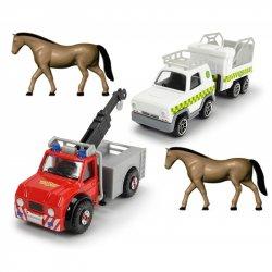 Strażak Sam zestaw dwóch metalowych pojazdów Dickie + 2 konie