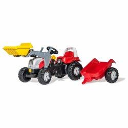 Rolly Toys rollyKid Traktor na pedały STEYR czerwony z łyżką i przyczepą